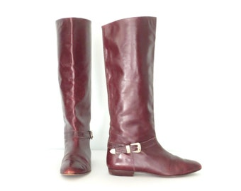 Leather Harness Boots * Vintage Equestrian Boot * Burgundy Riding Boots * size 11 / 41
