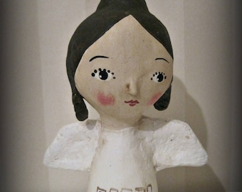 Peace angel  Folk Art -  paper mache doll Primitive OOAK
