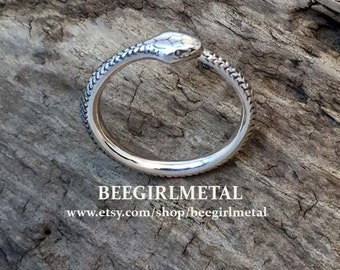 Sterling Hand Engraved Ouroboros Ring