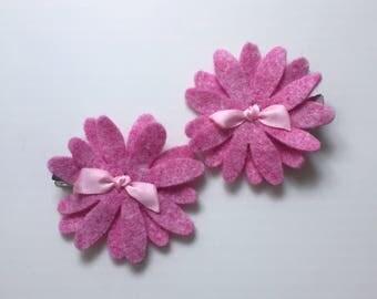 Pink felt flower clips