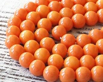 8mm Round Glass Beads  - Jewelry Making Supplies -  Craft Supplies (20 beads) Creamy Peach Orange