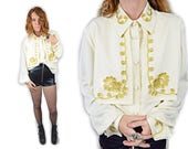 vtg 80s Victorian Gold Leaf Embroidered Off White Beige Silk Collared Peter Pan Blouse Shirt Long Sleeve Heavy Cuff Tunic UNISEX Bib o/s