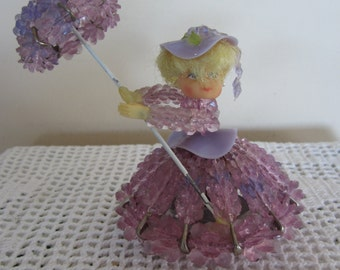 Vintage Beaded Safety Pin Doll With Music Box Spinning Doll Unique