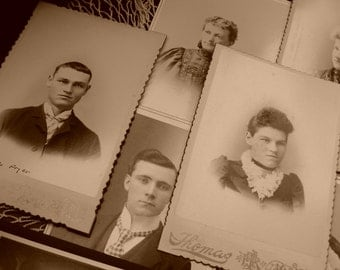 Cabinet Card Lot, 11 Pc., Early 1900's, Edwardian, Victorian, Men, Women, Baby, Wedding, Deckled Borders, Top Quality, Excellent Condition
