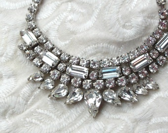 Vintage Rhinestone Choker, Necklace, Tear Drop, Art Deco, Jewelry Gift for Her, Bridal Jewelry, Silver Tone Metal, Dazzling
