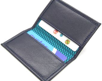 Slim blue leather card holder with stripe lining
