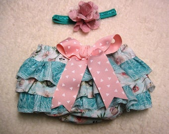 Size small boho baby boutique style ruffled bloomers, gypsy bloomers, hippie bloomers, baby girl photo prop