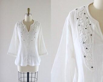 1970's lace + gauze cotton top