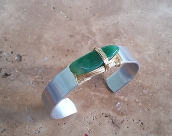 Grass Green Agate Cuff