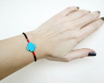 Cross Beaded Bracelet, Simple Boho Turquoise Bracelet, Turquoise Beaded Bracelet
