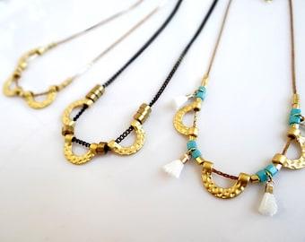 Gold Choker Necklace, Dainty Beaded Necklace, Mini Tassel Necklace, Boho Necklace, Half Circle Necklace