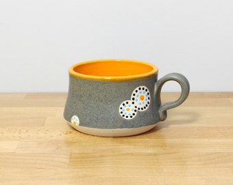 SALE! Handmade Pottery Teacup, Ceramic Teacup, Small Stoneware Mug, Modern Coffee Cup, Teacup, Modern Kitchen Drinkware in Orange and Gray