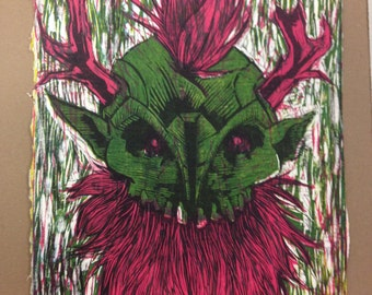 Wild Hunt Color Linocut Print
