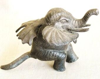 Elephant, Cast Metal, Metal Elephant, Figurine, Elephant Figure, Mythical Animals, Mystical Animal, Elephant with Wings, Cast Iron,Sculpture