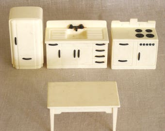 Vintage Ideal Dollhouse Furniture, Kitchen Set, Stove, Table, Sink, Refrigerator, Plastic, Dolls, Miniatures, Collection, White, Suite
