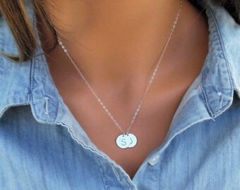 SILVER Disc Necklace, Silver initial Disc Necklace, Sterling Silver Initial Necklace, Monogram Necklace, Hand Stamped Initial, Up to 5 Dscs