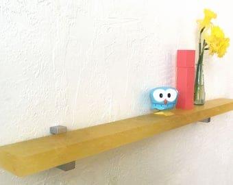 "Floating Yellow ""Nest"" Translucent Resin Shelf With Supports, Modern Floating Shelf, Display Shelf, Photo Shelf, Kitchen Shelf, Spice Rack"