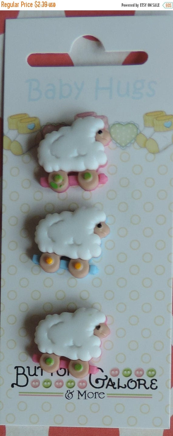 SALE Baby Buttons Sheep on Wheels Baby Hugs Collection by Buttons Galore Carded set of 3
