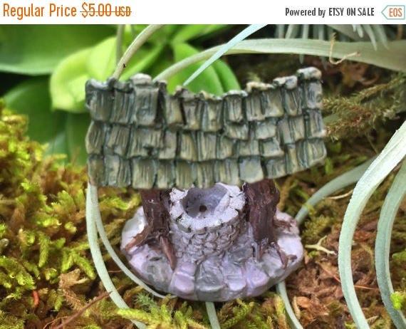 SALE Micro Mini Wishing Well, Fairy Garden Accessory, Miniature Garden Decor, Home & Garden, Mini Well, Topper, Shelf Sitter