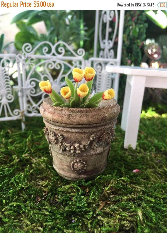 SALE SALE Miniature Flower Planter, Aged Look Planter, Style 4009, Dollhouse Miniature, 1:12 Scale, Flower Pot, Miniature Garden Accessory