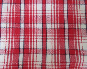 Vintage GERMAN Ticking Homespun Red Check Woven Cotton Checkered Plaid Fabric 1.6 yards