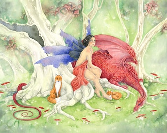 Fantasy Art Original Watercolor Painting - Ruby's Dragon - fairy. dragon. forest. enchanted. trees. fairy tale. red. fox.