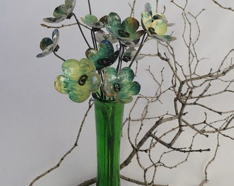 Lovely Pastoral Green and Yellows Bouquet of Tin Forever Blooming Flowers