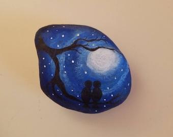 Painted Rock....Moonlight Lovebirds