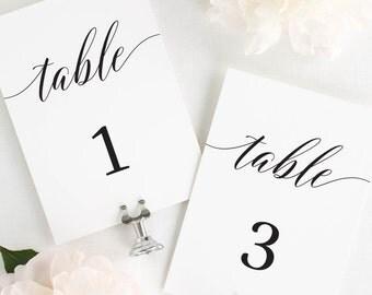"Elegant Romance Table Numbers - 5x7"""