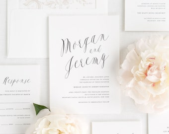 Ethereal Calligraphy Wedding Invitations - Sample