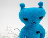 Mini martian friend! Small plush alien with heart, bright blue fleece