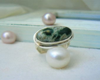 Sterling silver and Ocean Jasper Ring - jewelry cabochon gemstone 925 - Size 9.5 - READY TO SHIP