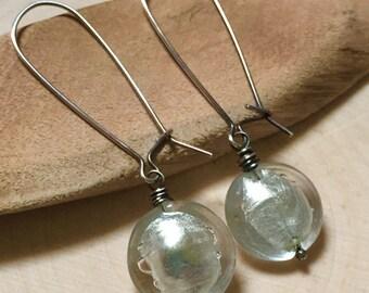 Silver Foil Murano Glass Earrings - Sterling