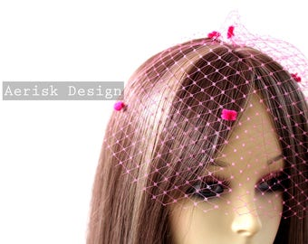 Pink Chenille Dot Blusher Veil (4 color option) Hat veiling for pill box hats,Vintage style Birdcage russian veil for teaparty and derby