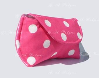 Large Sunglass Case - Large Eyeglasses Case - Hot Pink Polka Dot - 2 colors - 3 sizes - Gifts under 20 - Free USA Shipping