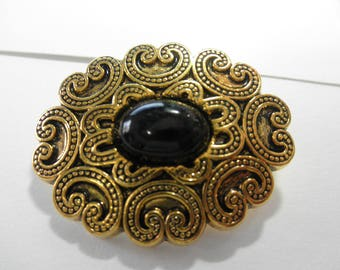 HUGE Scalloped Button -Burnished  Gold swirls with black Acrylic Cabachon center  1 3/4inches x 1 1/4 inches