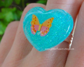 Turquoise Blue Heart Butterfly in Resin Ring, Spring Fashion Statement Ring, Colorful Kawaii Glitter Ring, Pastel Glitter Fusion Resin Ring