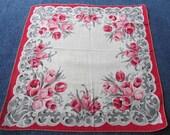 Vintage 50s Handkerchief Tulip Hankie Red Pink Gray Floral Off White Cotton