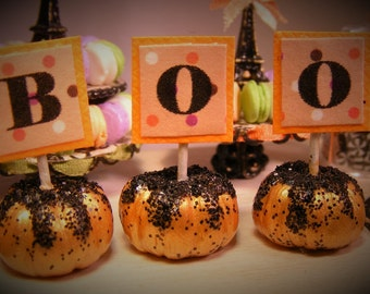 12th Scale Doll House Set of 3 BOO! Spooky Halloween Pumpkins