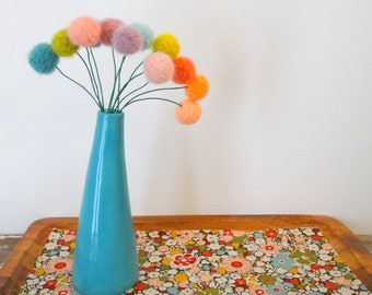 Pom Pom Flowers.  Faded Pastel Flowers.  Felt flowers.  Multi-color Modern Bouquet.  Faux Flowers. Yarn Pompoms.  Fake Floral Centerpiece