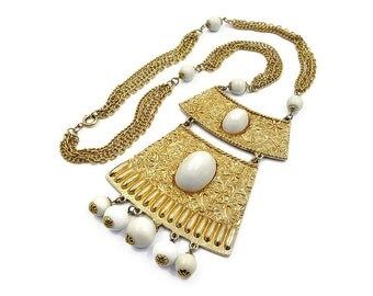 Goldette Gold Egyptian Revival White Lucite Necklace - Gold Tone, Chunky Necklace, Vintage Necklace, Vintage Jewelry