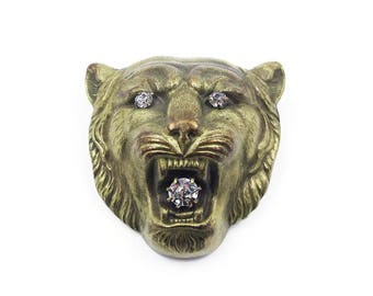 Victorian Lion Head Gold Filled Rhinestone Brooch - Rampart Lion, Victorian Jewelry, Antique Jewelry