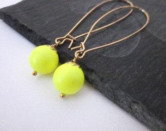 Bright Yellow Earrings -- Neon Earrings -- Neon Yellow Earrings -- Yellow Earrings -- Neon Bead Earrings -- Yellow Swarovski Pearl Earrings