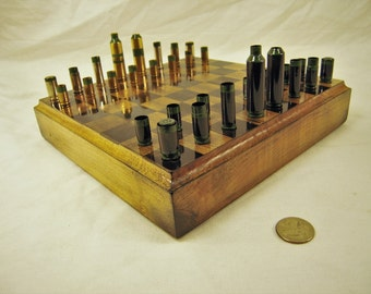 Mixed caliber green striped Bullet shell chess pieces-   Optional Ash wood board #1020160016- Free Shipping to U.S.