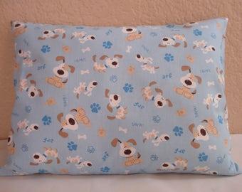 "Travel Pillowcase / 12"" X 16""  Pillow Cover / Puppy Pillowcase / DISCOUNTED / Kids Travel Pillow / PUPPY DOGS Fabric / Puppy Pillowcase"