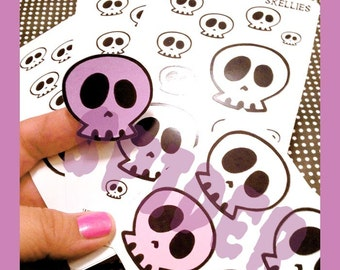 Skellies and Skullies  Planner Stickers Mini Sticker Sheet with 18 Kiss Cut Glossy Stickers Calavera Day of the Dead with  Bonus Stickers
