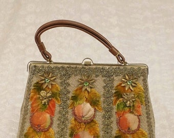 20% OFF Vintage 50s 60s Hand Decorated Autumn Themed Hand Bag Purse by Caron, New, NWT