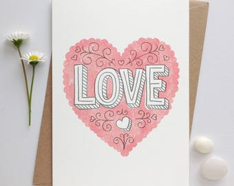 Wedding Card | Valentines Card | Anniversary Card | Love Card | Engagement Card | Love Heart Design | Wedding Day Card | Bridal Shower Card