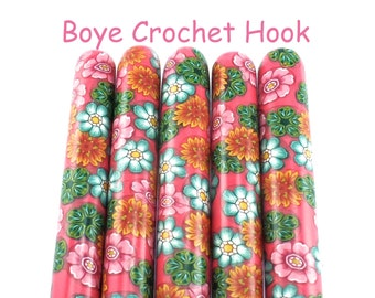 Crochet Hook, Boye Polymer Clay Covered Crochet Hook, Crochet Hook Sizes B-N, Custom Crochet Hook, Flowers