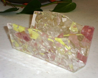 Fused Glass Business Card Holder -  Pink yellow white  12227